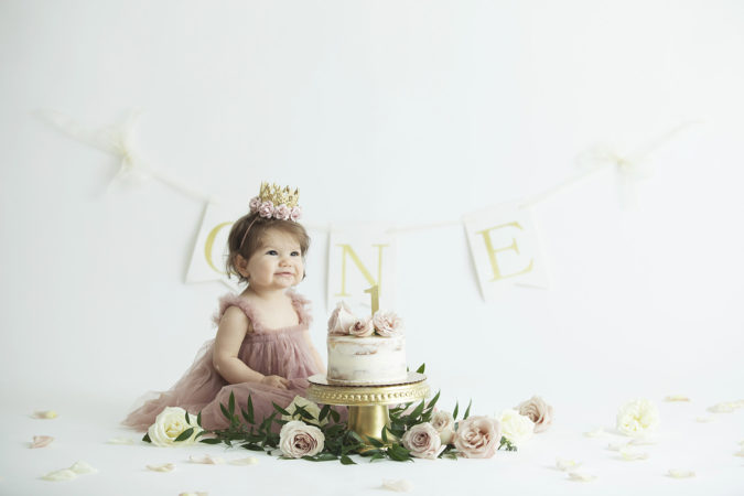 first birthday cake smash girl mauve and gold