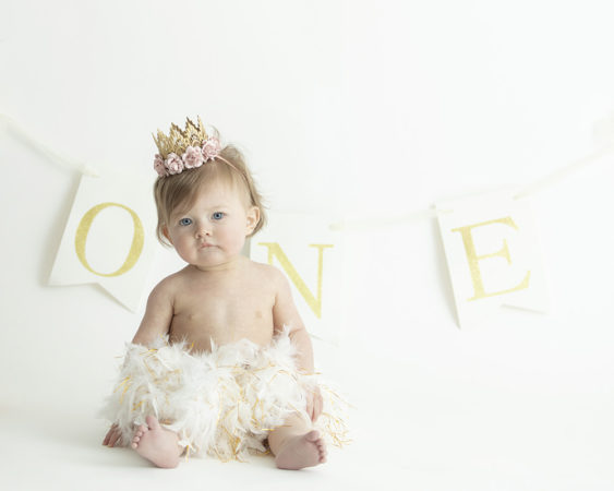 little girl first birthday tutu gold crown with pink flowers one banner