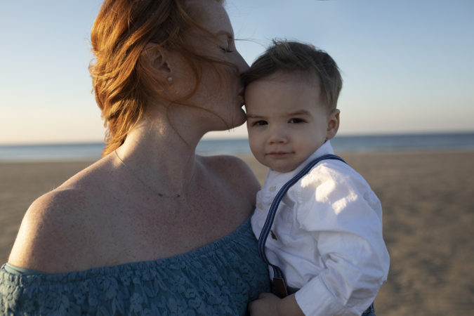 maternity session outdoor blue dress sunset with little boy